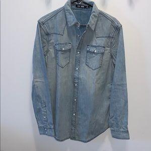 Blk Dnm Lighg wash western denim shirt